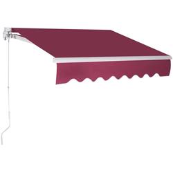 COSTWAY Markise Sonnenmarkise, Terrassenmarkise, Klemmmarkise 3 x 2,5 m, mit Kurbel, für Balkon und Veranda rot