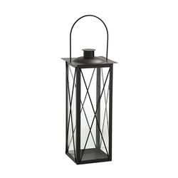 Dehner Gartenfackel Laterne Sagres, Metall/Glas, schwarz