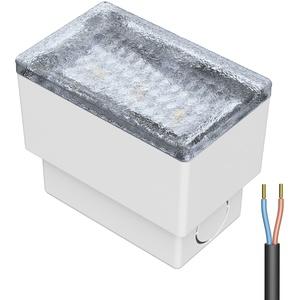 LED Pflasterstein Bodenleuchte CUS, 8x5cm, 230V, kalt-weiß