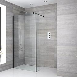 Walk-in Dusche mit Seitenteil, Ablauf und Größe von Duschwand wählbar - Nox, von Hudson Reed