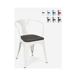 Chaises design industriel en bois et métal de style Tolix Cuisines de bar Steel Wood Arm   Blanc