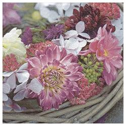 Linoows Papierserviette 20 Servietten Violette Blumengirland, Lila Blütenp, Motiv Violette Blumengirland, Lila Blütenpracht