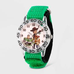 Kids' Disney Toy Story 4 Woody, Buzz Lighter, Bo Peep Plastic Time Teacher Strap Watch - Green
