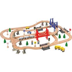 Holzeisenbahn-Spielset, 84-tlg.