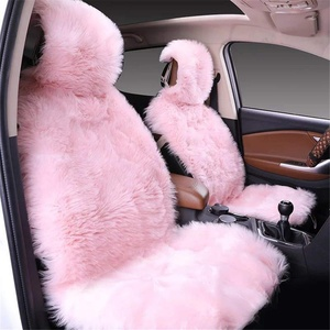 1 stück Lammfellbezug Auto Sitzbezug Lammfell Vordersitzbezug Universal Sitzbezüge (Pink)
