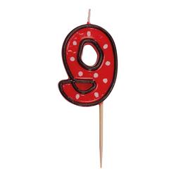Zahlenkerze, Geburtstagskerze `9` rot, ca. 85 mm