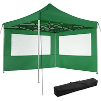 Tectake Faltpavillon 3,00 x 3,00 m inkl. 2 Seitenteile grün