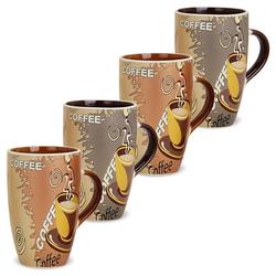 matches21 HOME & HOBBY Becher Kaffeebecher 4er Set Modern Coffee 12 cm, Keramik