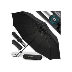 KESSER Taschenregenschirm, Regenschutz, Schirm sturmfest bis 150 km/h - inkl. Schirm-Tasche & Reise-Etui - Taschenschirm mit Auf-Zu-Automatik, klein - leicht & kompakt - Teflon-Beschichtung schwarz