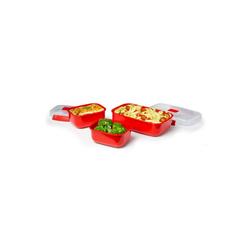 sistema Mikrowellenbehälter Mikrowellengeschirr Heat & Eat 3er-Set, rot, Kunststoff lebensmittelsicher