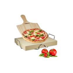 relaxdays Pizzastein Pizzastein Set 5 cm, Cordierit
