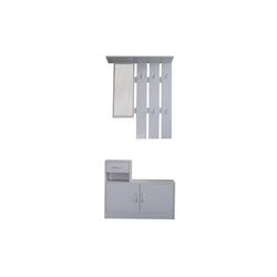 HTI-Line Garderoben-Set Garderobe Thekla, (2-tlg), Garderobenpaneel mit Spiegel, Hutablage und 5 Haken weiß