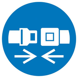 Gebotsschild Rückhaltesystem benutzen Folie selbstklebend (Ø) 50mm ISO 7010 6St.