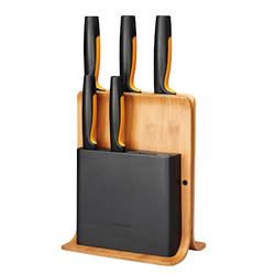 Fiskars FF Messerblock aus Bambus mit 5 Messern
