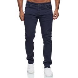 Jaylvis Slim-fit-Jeans 3417 JAYLVIS Herren Slim Fit Jeans Basic Used Look Button-Fly blau 30W