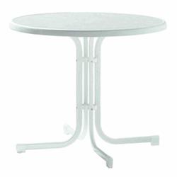 SIEGER Gartentisch, weiß Stahlrohrgestell, Dekorplatte