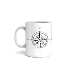 Kreative Feder Tasse, Keramik, Tasse mit Motiv, Keramiktasse, fasst ca. 300ml, Kaffe, Tee, Bürotasse, Büro, Kompass, Reisen