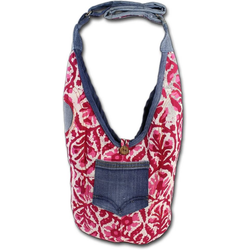 Sunsa Umhängetasche D2OTA430BR Sunsa Wendetasche Kinder Hobo Bag, Jugend, Damen Tasche aus Jeans in rot, blau, floral