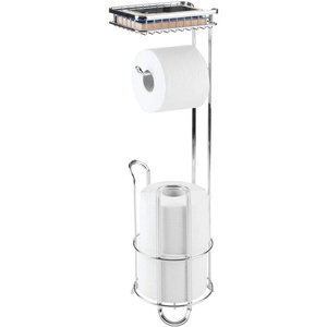 mDesign Toilettenpapierhalter ohne Bohren - Klorollenhalter fürs Badezimmer - zeitloser Papierrollenhalter aus Metall - silber