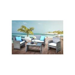 HTI-Line Sitzgruppe Terrassenmöbel Zypern, (1x 2-Sitzer, 2x Sessel, 1x Tisch, inkl. Auflagen, 4-tlg), Terrassenmöbel