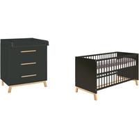 Schardt Babymöbel-Set Sienna Black, (Spar-Set, 2-St), mit Kinderbett und Wickelkommode; Made in Germany