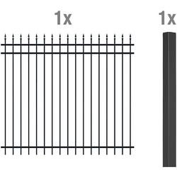 2m Zaun-Anbauset Columbus, matt-sw, zE 1800 mm