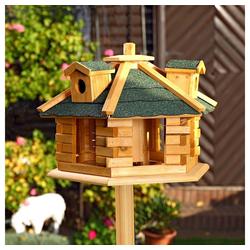 Mucola Vogelhaus Vogelhäuschen Vogelhäuser Futterhaus Futtersilo Vogelfutterhaus, Inkl. aufklappbaren Futterspender braun