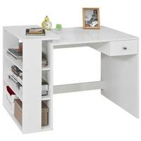 SoBuy Schreibtisch FWT35-W, Schreibtisch mit 1 Schublade und 3 Ablagen Tisch Arbeitstisch Computertisch Bürotisch weiß weiß