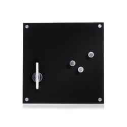 Zeller Glas Memoboard, Als Magnettafel nutzbar und komplett beschreibbar, Maße: 40 x 40 cm, schwarz