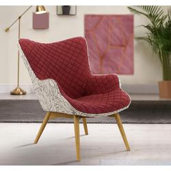 INOSIGN Sessel Duke Print, Karoprägung im Sitzbereich und Dekostoff auf der Rückseite rot