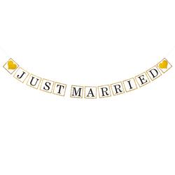 Just Married Girlande mit goldenen Herzen Hochzeit Feier Party Banner Deko Hochzeitsdeko