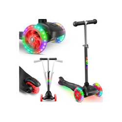 KIDIZ Cityrad, Kinder Scooter Pro1 Dreiradscooter mit PU LED Leuchtenden Räder Kinderroller Tret-Roller höhenverstellbarer Cityroller Kinderscooter für Kinder Jungen Mädchen ab 3-12 Jahre schwarz