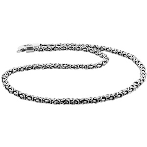 KUZZOI KUZZOI Halskette Massive Männer Königskette Oxidiert 925 Silber Herrenschmuck Herren