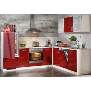 Einbauküche ROSSO 10 Küchenzeile Rot Glanz/Weiß L-Form 285x225cm Küche/Montiert!