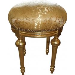 Casa Padrino Barock Sitzhocker - Rundhocker Gold Muster / Gold - Barock Hocker Möbel