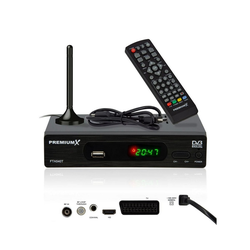 PremiumX FTA 540T FullHD Digitaler DVB-T2 terrestrischer TV-Receiver H.265 HEVC USB Mediaplayer SCART HDMI inkl. Fuba Antenne DVB-T2 HD Receiver