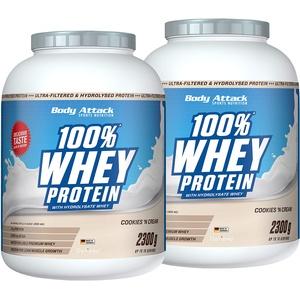 Body Attack - 100% Whey Protein, extra cremiges Eiweißpulver mit Hydrolysat und BCAA ́s, unterstützt Muskelaufbau und Diäten, für alle Sportler & Athleten - Made in Germany – 2x2,3kg (Cookies n Cream)