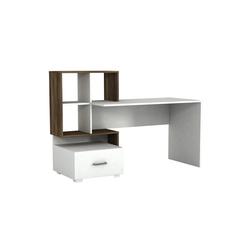 moebel17 Schreibtisch Schreibtisch Bloom Weiß Walnuss