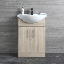 Waschtischunterschrank mit Waschbecken 550mm - Eiche mit 2 Türen, von Hudson Reed