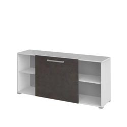 Sideboard mit Schiebetür Weiß Braun