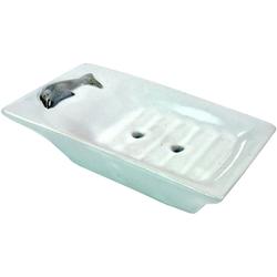 Guru-Shop Seifenschale Exotische Keramik Seifenschale - Delfin/weiß 13 cm x 3 cm x 8 cm