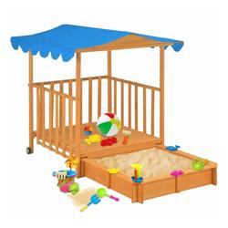 vidaXL Sandkasten vidaXL Kinderspielhaus mit Sandkasten Tannenholz Blau UV50
