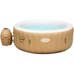 Bestway Lay-Z-Spa Whirlpool Palm Springs AirJet, Whirlpool rund aufblasbar mit Massagefunktion, beige, 196 x 71 cm, 4-6 Personen, beige