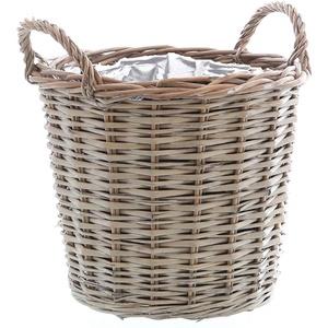 Annastore Pflanzkorb aus Weide mit Henkel und Folie - Weidenkorb Weidenkörbe Pflanzkörbe Größe Ø 30 cm - H 26 cm