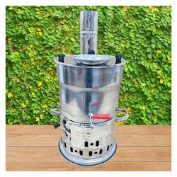 Faizee Möbel Samowar Holzkohle Samowar 3,5 Liter + Teekanne 1,0 Liter, Samovar, Edelstahl Neu Samawar