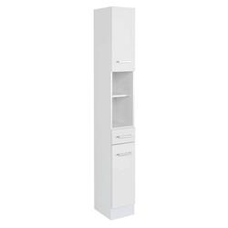 Bad Seitenschrank in Weiß 25 cm breit