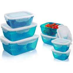 TELESHOP Aufbewahrungsbox Diamant (7-tlg., 1 x 2,4L 1,5L 4 0,9L 3 0,4L 6 0,2L) blau Aufbewahrung Ordnung Lebensmittelaufbewahrungsbehälter