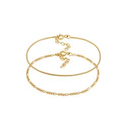 Armband Armkettchen 2Er Set Figaro Rund 925 Silber Elli Gold