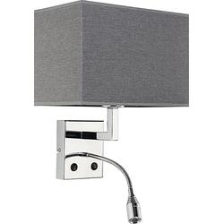 Licht-Erlebnisse Wandleuchte HOTEL LED Wandleuchte Grau Stoff Chrom Leselampe Schlafzimmer Wohnzimmer Lampe