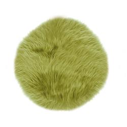 Sitzkissen LAMMFELL grün (D 34 cm)